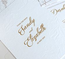 Blind Deboss Floral Invitation by Mille Paperie