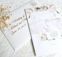 Romantic White Floral & Marble by Mille Paperie