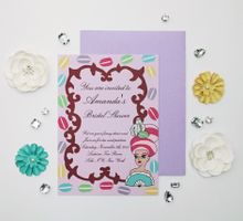 Marie Antoinette macaron bridal shower invitations and favors by Fancy Paperie