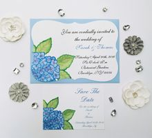 water color hydrangea invitation set by Fancy Paperie