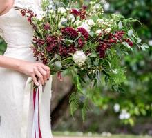 Wild burgundy bouquet by Liz Florals
