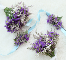 Brides maid hand corsage & bouquet in purple by Seed & Stem
