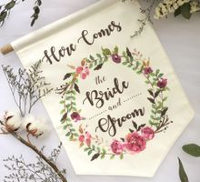 """Here Comes The Bride"" Signage by One Last Fling"