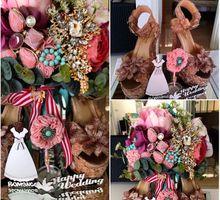 Magnolia Special Glassbox Handbouquet & Brides Shoes - Cinderella Themes- by Magnolia Dried Flower