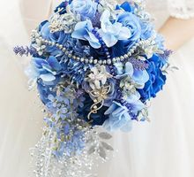 Royal Blue Cascade Hand Bouquet by Cup Of Love Design Studio