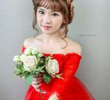 red wedding gown makeup by Cocoon makeup and hair