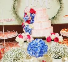 pink floral dessert table by Lydia Low Desserts