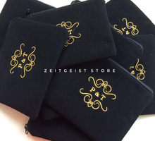 Putri & Tozza, Velvet Pouch with Gold Embroidery  by ZEITGEIST