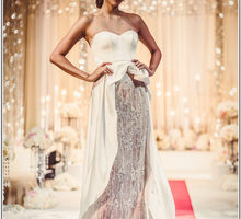 Draped Bustier & Hand-beaded skirt by Anseina Brides