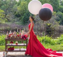Red Evening Gown  by Le Seine Bridal