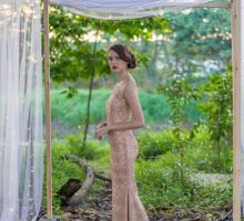 Gold evening gown  by Le Seine Bridal