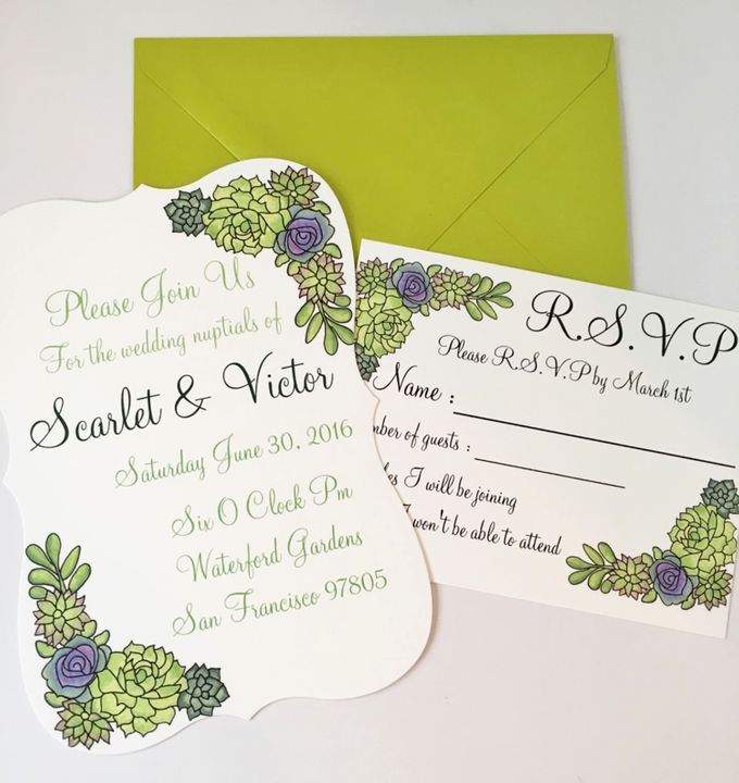 Water color succulent invitation suite by Fancy Paperie - 001