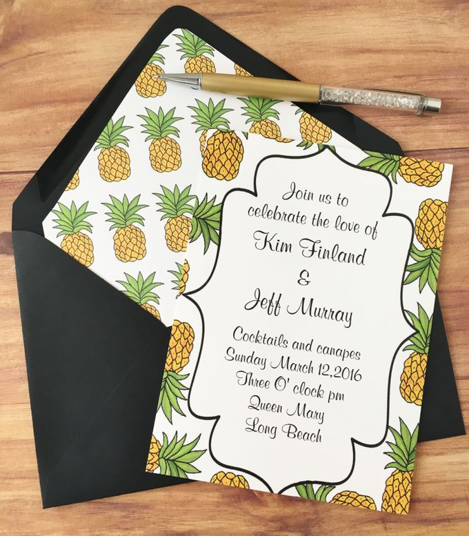 Pineapple wedding invitation suite by Fancy Paperie - 001