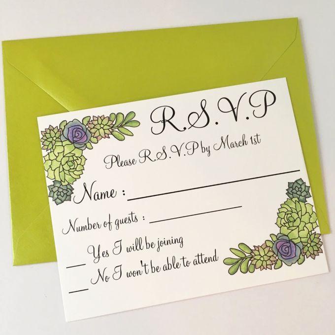 Water color succulent invitation suite by Fancy Paperie - 002