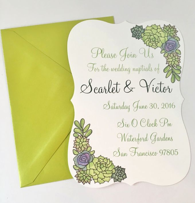 Water color succulent invitation suite by Fancy Paperie - 003