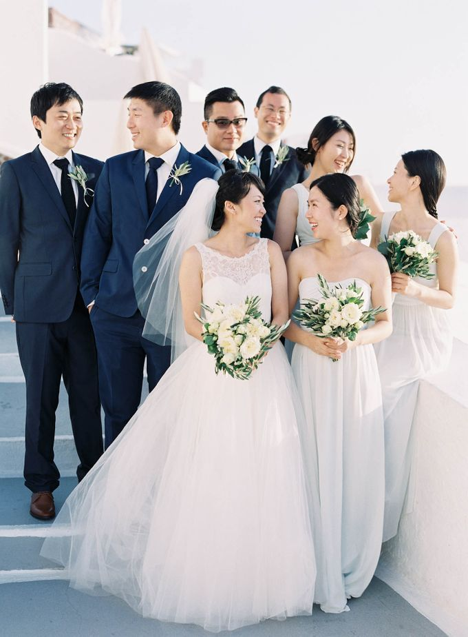 Classic and Beautiful Olive Green and Sea Blue Wedding in Santorini, Greece by Jen Huang Photo - 042