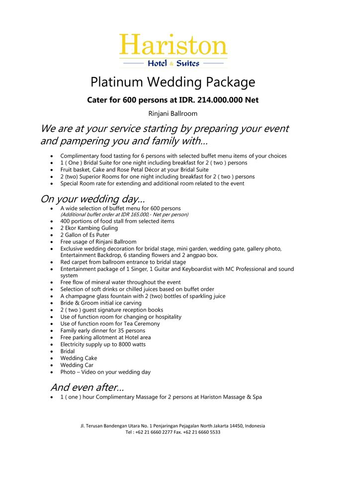 One Stop Wedding Packages Price List by Hariston Hotel Suites – Wedding Price List