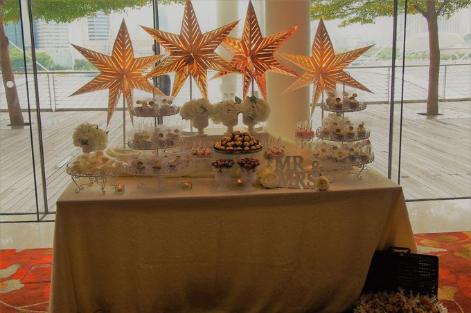 Gold and Soft White Dessert Table by Marina Bay Sands - 001